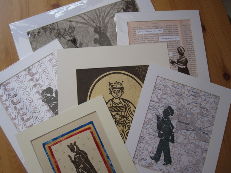 Shop - A selection of mounted linocut prints